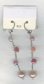 SPECIAL PURCHASE!! Peach Freshwater pearl and faceted Spinel drop earrings PRL3169
