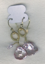 SPECIAL PURCHASE!! Lavender Keishi pearl and faceted lavender CZ drop earrings PRL3170