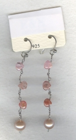 SPECIAL PURCHASE!! Peach Freshwater pearl and faceted Spinel drop earrings PRL3178
