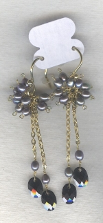 SPECIAL PURCHASE!! Silver Freshwater seed pearl and faceted black Onyx drop earrings PRL3179