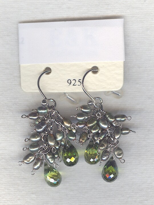 SPECIAL PURCHASE!! Silver Freshwater seed pearl and faceted green CZ drop earrings PRL3180