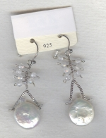 SPECIAL PURCHASE!! White Biwa coin pearl and faceted Quartz Crystal earrings PRL3183