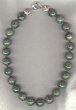 RARE 18mm green Chrome Diopside rounds with green Tourmaline Necklace CC6212