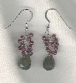 SPECIAL PURCHASE!!  Green faceted Grossular Garnet and Violet Garnet drop earrings FAC8163
