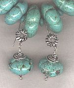 Carved green/blue Mexican Turquoise earrings FAC8167