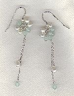 SPECIAL PURCHASE!! White Freshwater seed pearl & Aquamarine earrings PRL3215