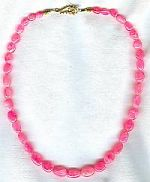 200 ct pink Sapphire oval bead necklace CC6052