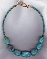 Hand hammered Brazilian Amazonite nugget Necklace CC6143